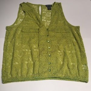 Wet Seal Lime Green All Lace Top NWOT, Buttons XL